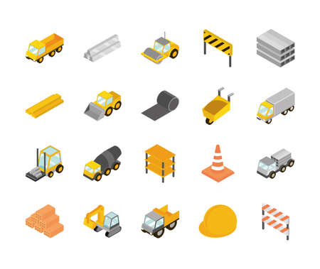 construction isometric set icons, truck, machine, brick, barrier, helmet and more vector illustration
