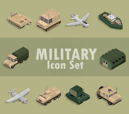 military icons set with aircrafts, truck, tanks, warship isometric design vector illustration