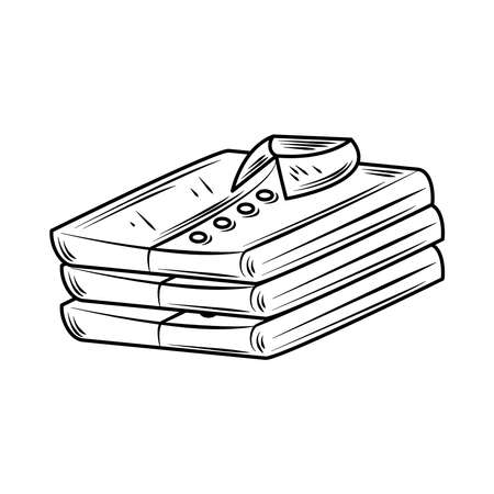 laundry male folded shirts vector illustration line style icon