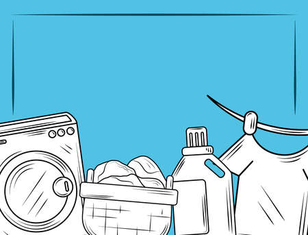laundry washing machine detergent and clothes blue background vector illustration line style