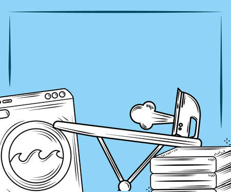 laundry washer machine ironing and folding clothes over blue background vector illustration line style 向量圖像
