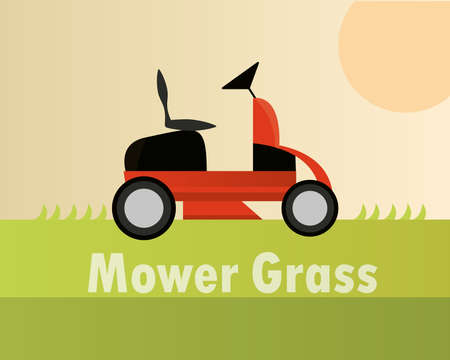lawn mower machine equipment gardening card vector illustration