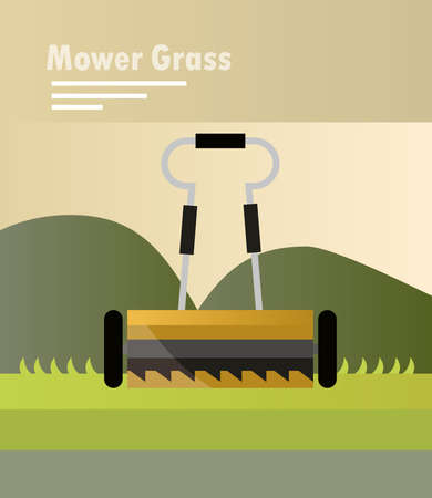 two wheeled lawn mower landscaping design vector illustration