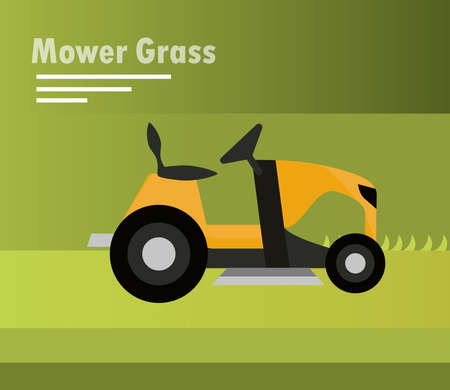 lawn mower machine tractor on green background vector illustration