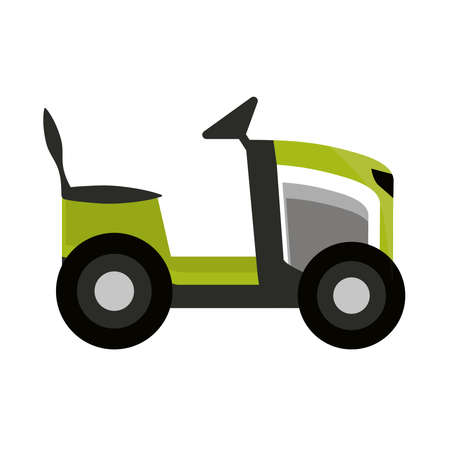 green machine lawn mower garden isolated on white background vector illustration 向量圖像
