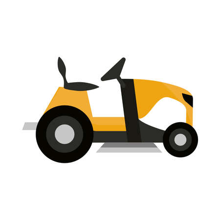 mower grass tractor isolated on white background vector illustration
