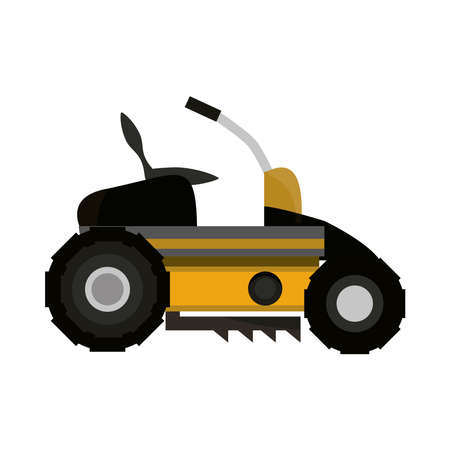 yellow mower grass machine isolated on white background vector illustration