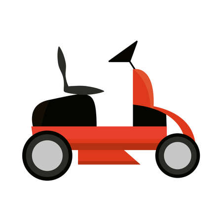 lawn mower car garden isolated on white background vector illustration