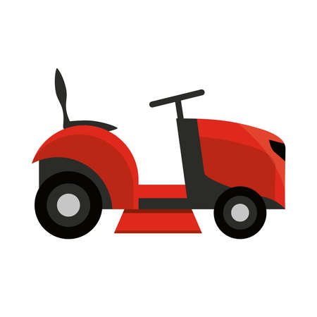 electric mower grass garden isolated on white background vector illustration
