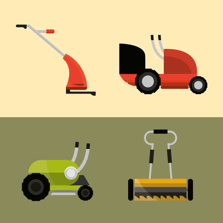 lawn mowers machine tools different types icons vector illustration