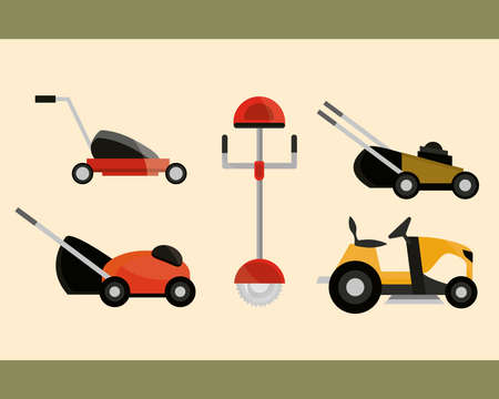 electric and manual lawn mowers equipment collection vector illustration 向量圖像