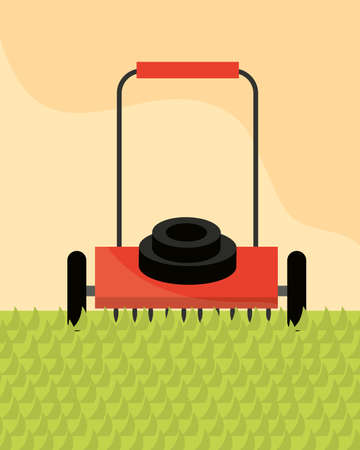 cutting grass with lawn mower gardening vector illustration 向量圖像