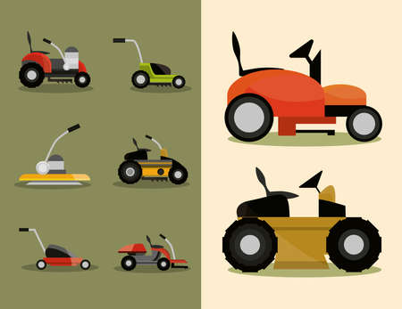 gardening lawn mower machinery icons set vector illustration 向量圖像