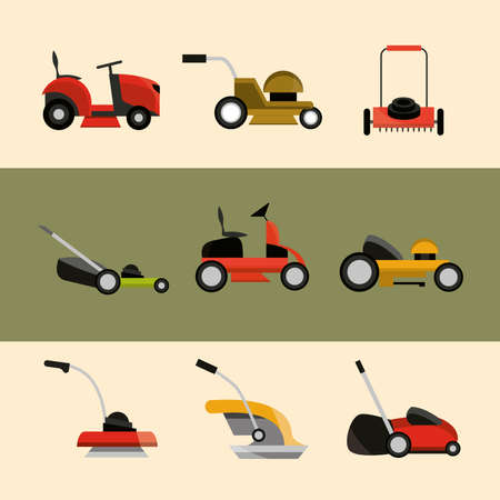 various types of lawn mowers equipment icons vector illustration 向量圖像