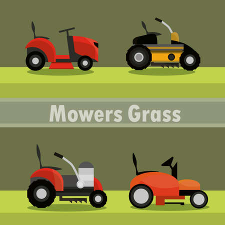 lawn mowers electric machine equipment icons vector illustration 向量圖像