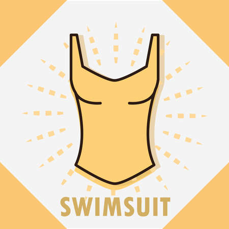 swimsuit sport accessory women clothing vector illustration line and fill icon