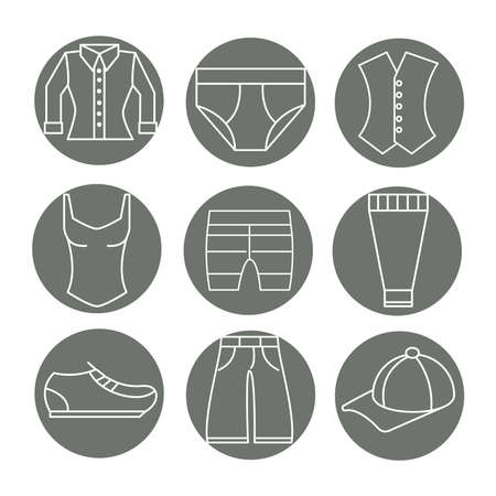 men and women wear clothing accessories such as underwear shoe swimsuit vector illustration line icon