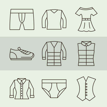 clothing female and male shirt underwear dress and shoe icons vector illustration