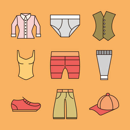 clothing female and male shirt underwear cap and shoe icons vector illustration 向量圖像