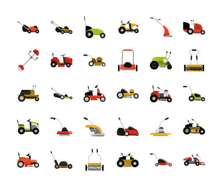 set of trimmer lawn mower tractor chainsaw and trolley vector illustration 向量圖像