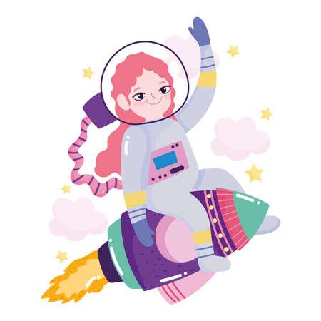space adventure galaxy cartoon astronaut girl riding rocket vector illustration Stock Illustratie