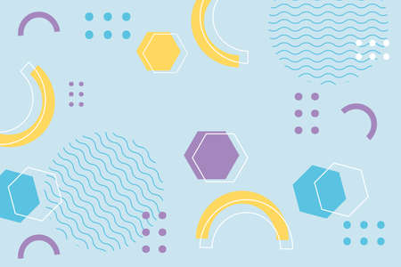 memphis shapes hexagon geometric 80s 90s style abstract background vector illustration