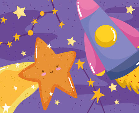 shooting star and shuttle stars space adventure galaxy cartoon vector illustration 向量圖像