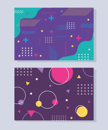 memphis modern abstract banner set, minimal design colour shapes geometric vector illustration 向量圖像