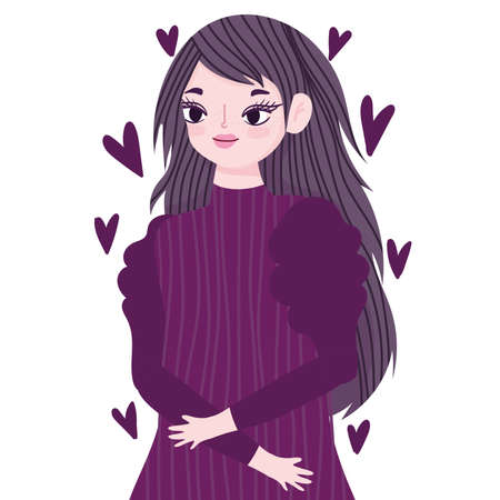 young woman portrait purple hearts love cartoon vector illustration 向量圖像