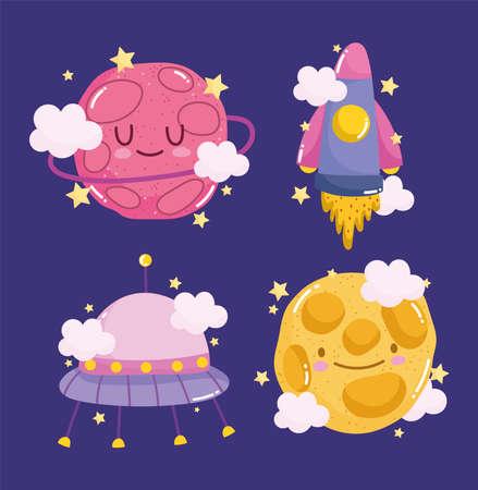 planet rocket ufo and moon space adventure galaxy cartoon vector illustration