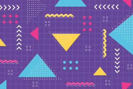 memphis shape with geometric 80s 90s style abstract grid background vector illustration 向量圖像