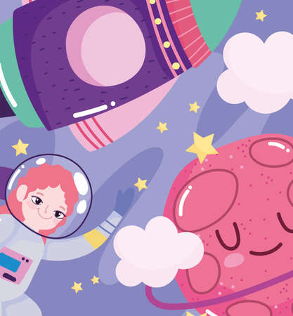 girl astronaut planet and shuttle space adventure galaxy cartoon vector illustration 向量圖像