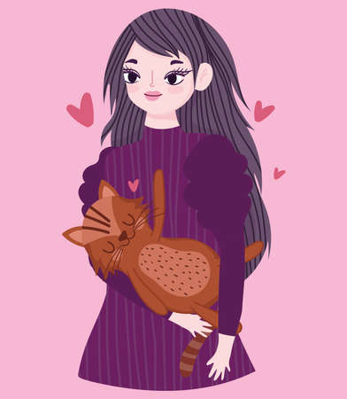 happy young woman with brown cat animal pet cartoon vector illustration 向量圖像