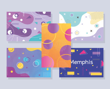 memphis style abstract creative templates banner set, geometric design vector illustration