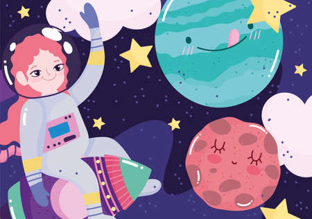 girl astronaut on rocket planets stars space adventure galaxy cartoon vector illustration Stock Illustratie