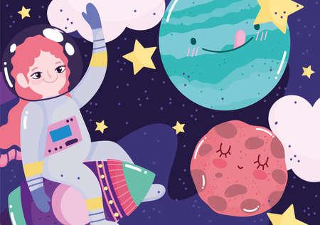 girl astronaut on rocket planets stars space adventure galaxy cartoon vector illustration 矢量图像