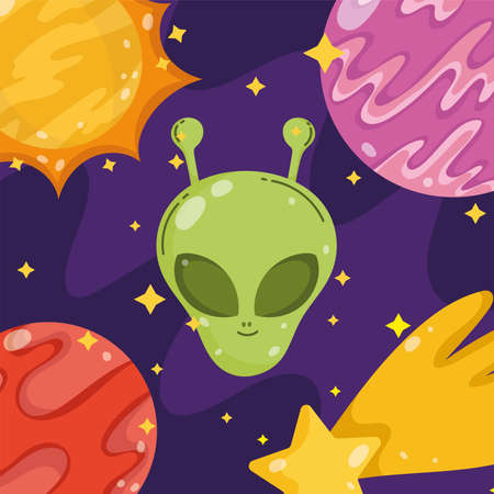 alien planet star space galaxy astronomy in cartoon style vector illustration
