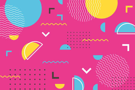 geometric shapes minimal memphis 80s 90s style abstract pink background vector illustration