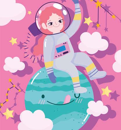 girl astronaut explore planet space adventure galaxy cartoon vector illustration