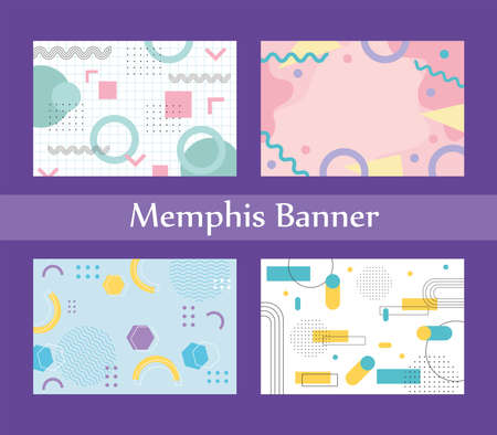 memphis style banner design collection of templates with geometric shapes vector illustration