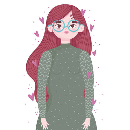 young woman portrait with glasses and hearts love cartoon vector illustration