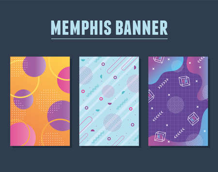 memphis style set with geometric shapes and banners vector illustration 向量圖像