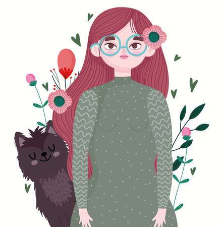 woman with glasses and cat pet animal cartoon and flowers vector illustration 向量圖像