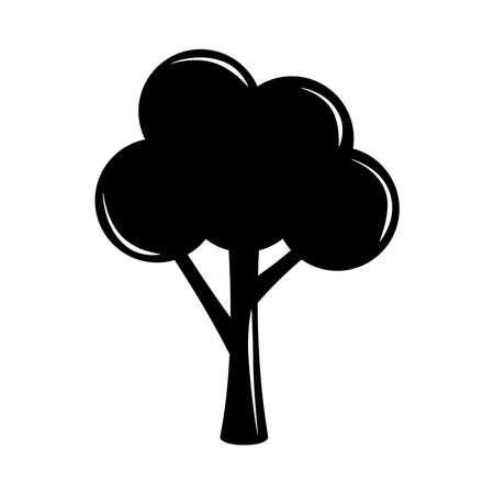 tree nature leafy botanical silhouette icon vector illustration