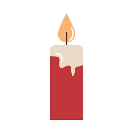 merry christmas, burning candle decoration vector illustration cartoon flat icon
