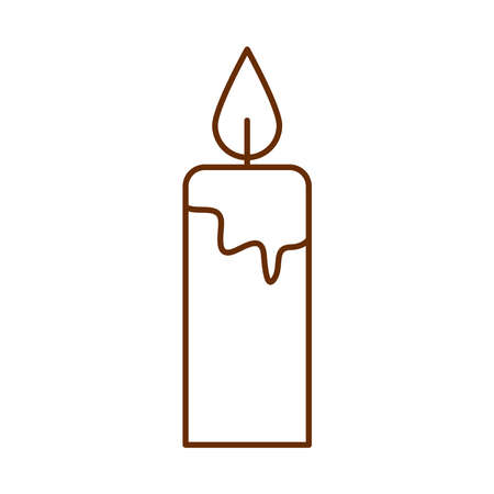 merry christmas, burning candle decoration vector illustration cartoon line icon