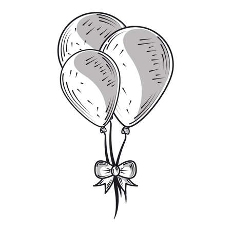 happy birthday balloons with bow celebration party, engraving style vector illustration
