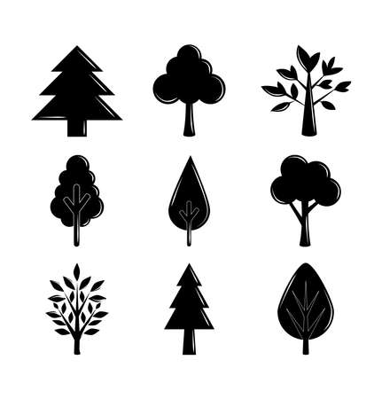 silhouette trees branch nature ecology set icons vector illustration