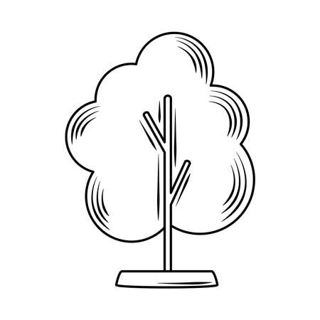 tree natural leafy linear style icon vector illustration 向量圖像
