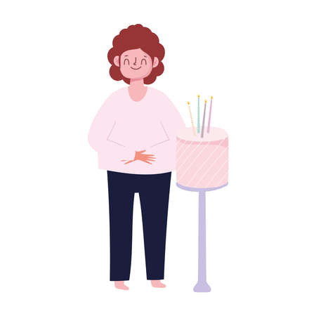 happy man with birthday cake with candles celebration isolated white background vector illustration